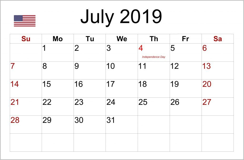 July 2019 Calendar With Holidays Printable Notes Template Blank