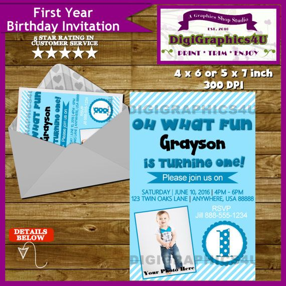 First Birthday One Year Old Baby Boy By DigiGraphics4u Invitation Etsy