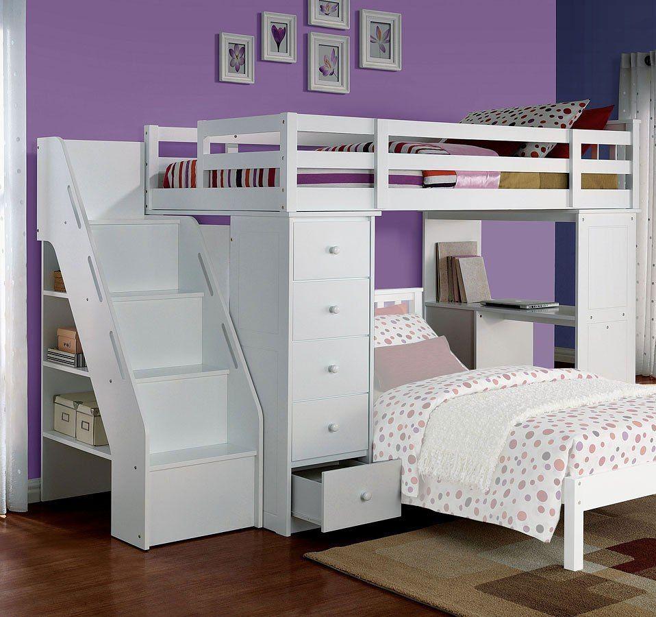 Freya Loft Bed W Bookshelf Ladder White Loft Bed Kids Loft Beds Twin Loft Bed