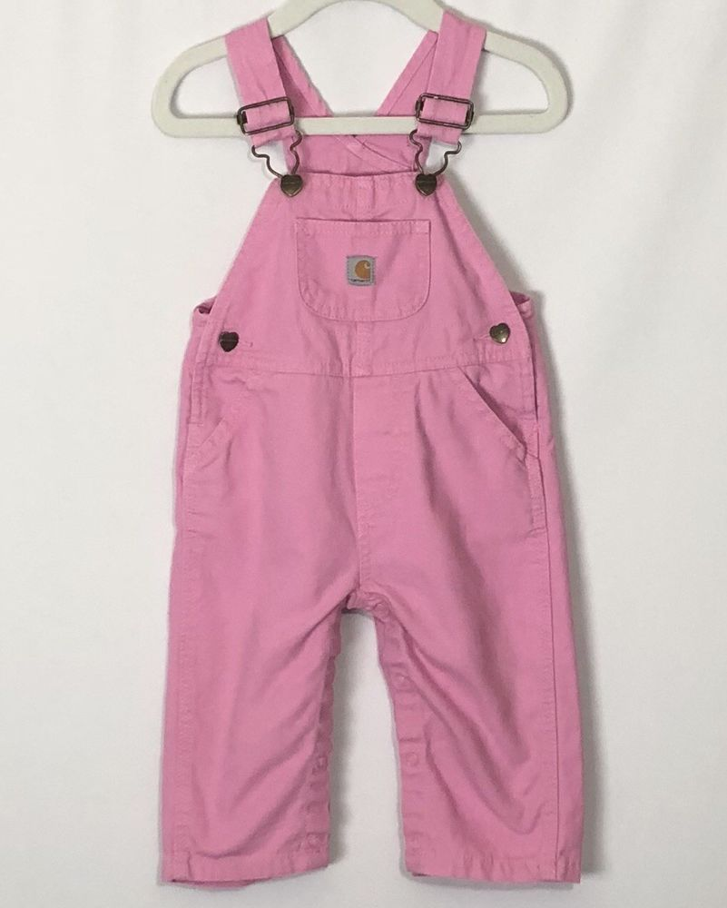 ef0c43e1e Baby Girl Carhartt Overalls 9M Pink One Piece Snap Bottom Adjustable Infanr  EUC | eBay