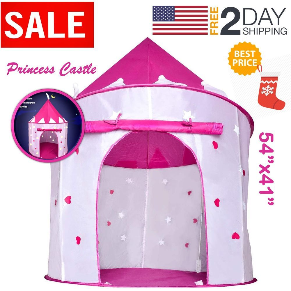 Pink Princess Castle Kids Play Tent Children Playhouse Great