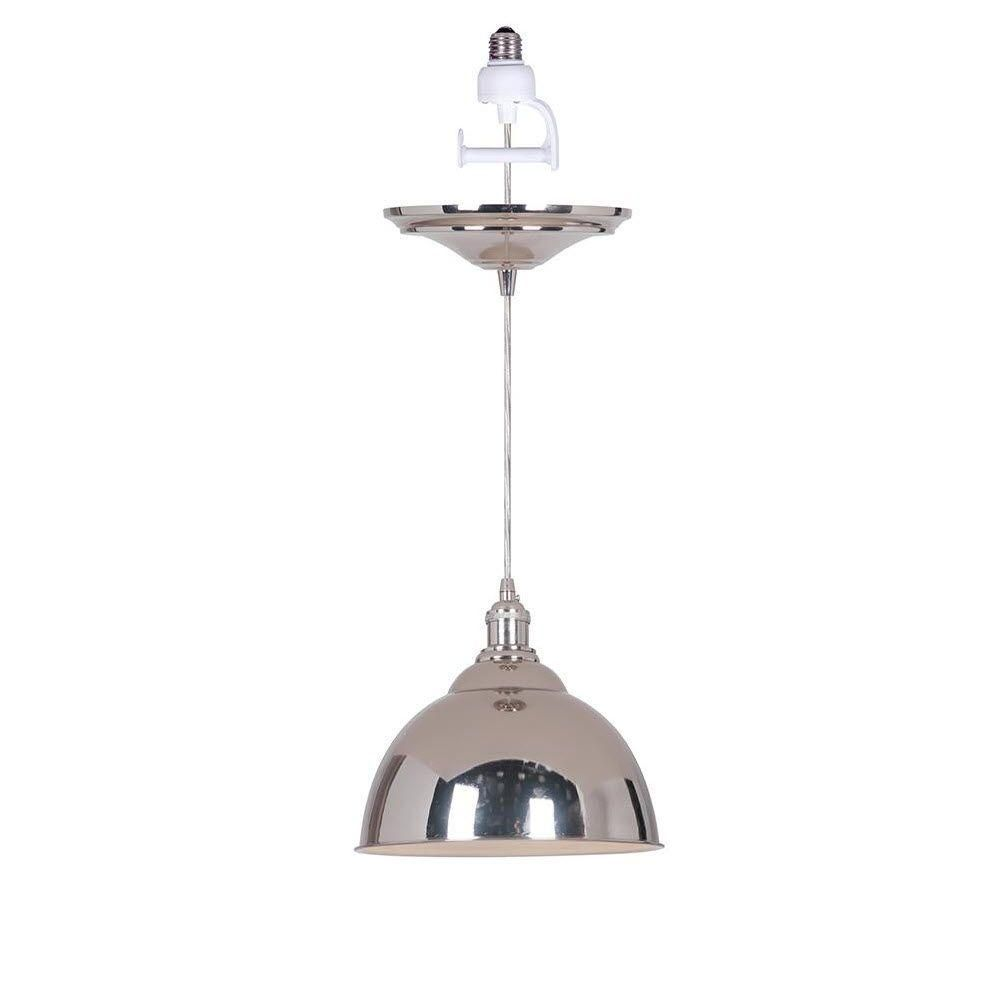Home Decorators Collection Canady 1 Light Polished Nickel Instant Pendant With Conversion Adapter Metal Pendant Light Polished Nickel Light
