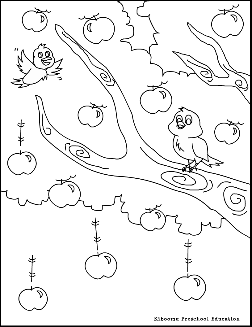 apple tree coloring page - Apple Tree Coloring Page