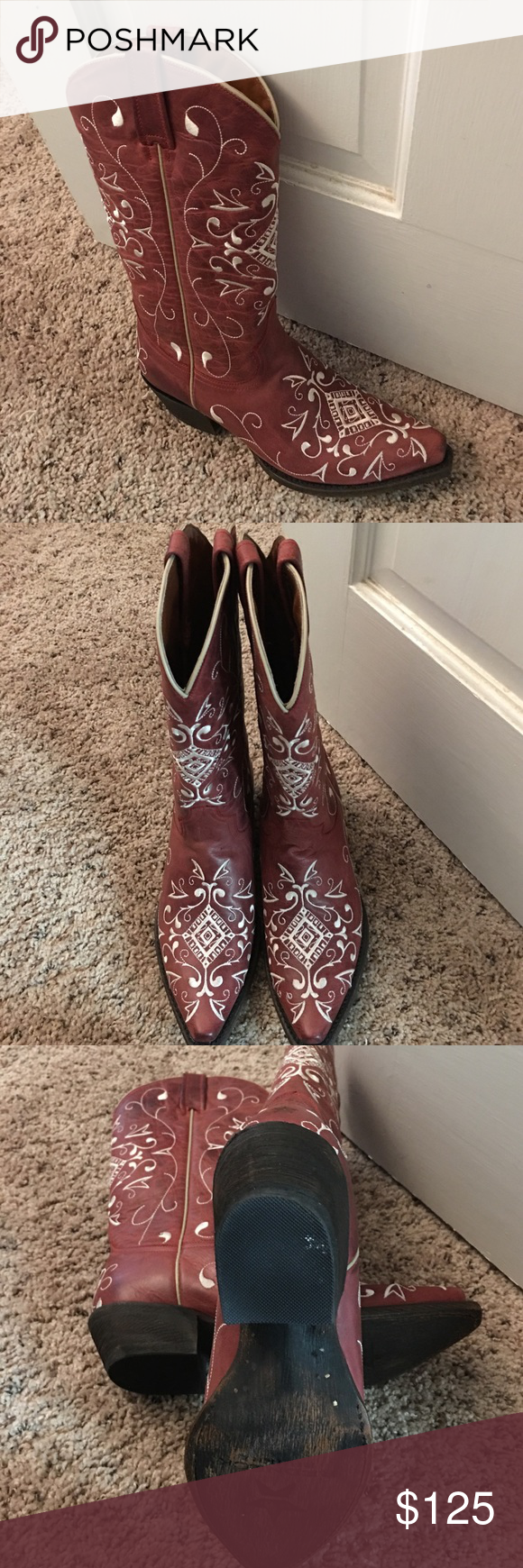 Redneck Riviera Dreamweaver Cowboy Boots Brand new, gorgeous crimson colored boots with cream colored embroidery. These boots are all leather and were an impulse buy! I have too many pairs of boots! I do not have the original box but I can ship them in a boot box if you like. Size 7, and true to size. These are on Country Outfitters website right now for $215. Redneck Riviera Shoes Heeled Boots