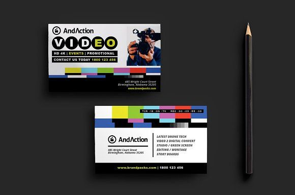 Videographer Business Card Template Visiting Card Design Business Card Design Creative Business Card Template