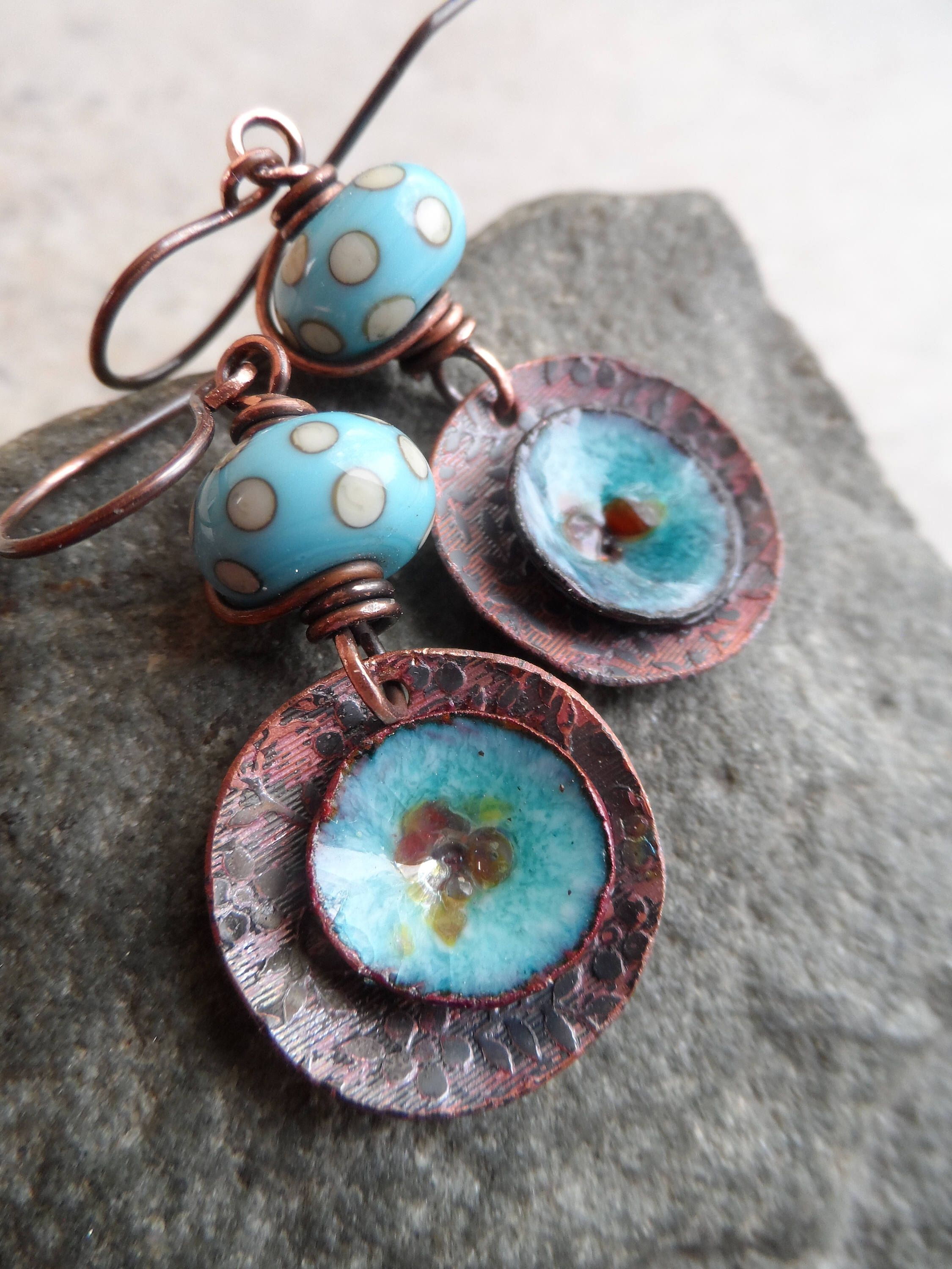 Poppies & Polka-Dots ... Petite Enameled and Etched Copper Charms ...