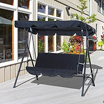 Outsunny 3 Seater Canopy Swing Chair Garden Rocking Bench Heavy Duty Patio  Metal Seat W/ Top Roof   Black