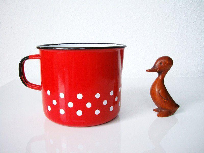 Vintage Töpfe - • POLKA DOTS • roter Milchtopf • - ein Designerstück von osteffi bei DaWanda