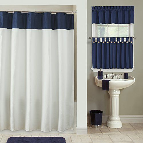 Amazon Furniture Fresh Newport Waffle Weave Shower Curtain White Body With Navy Top Stripe 70 Wide X 72 Long Home Kitchen