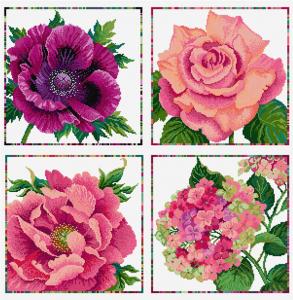 Summer flowers in cross stitch
