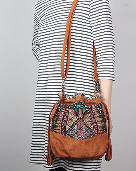 240252d5e6a5c Beuteltasche Hippie Tasche Umhängetasche Fransentasche schwarz braun grün  bunt Fransen Beutel Handtasche Boho bucket bag