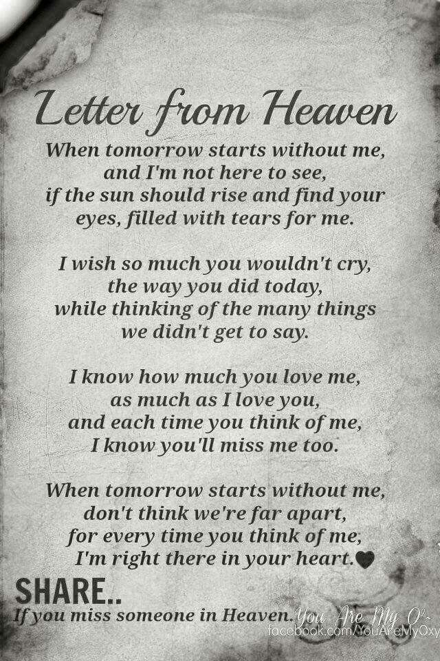Miss You Baby Hanna Miss You Quotes Letter From Heaven Miss
