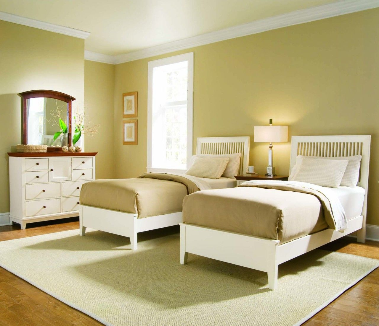 Simple Twin Bedroom Set Idea For Girls With Golden Brown Wall Paint Color And Fake Wood Flooring