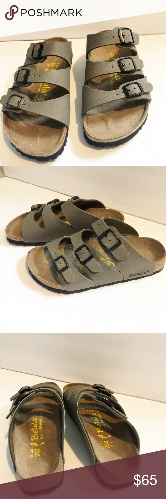 18cb558c97a8 Betula by Birkenstock Leo 3 Strap Sandal Size 36 Betula Birkenstock 3 Strap  Size 36 New without tags SANDAL FEATURES • Backless slide style • Triple  buckle ...