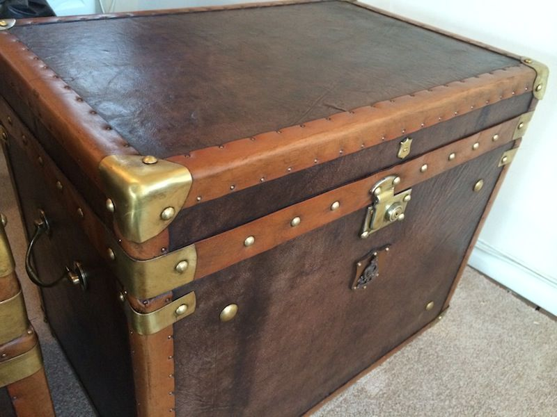 A Stunning Antique Military Style Real Leather Trunk, With Solid Brass  Locks And Fittings.