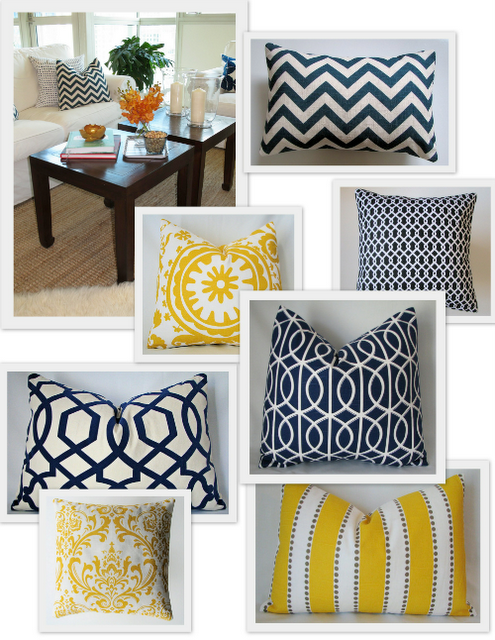 navy and yellow pillows from castle creek designs on etsy | home