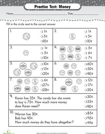Practice Test Counting Money Money math, Money