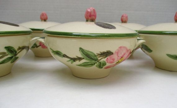 Made in California Franciscan Ware Relish Dish in Desert Rose design Gladding McBean Hand decorated oven safe
