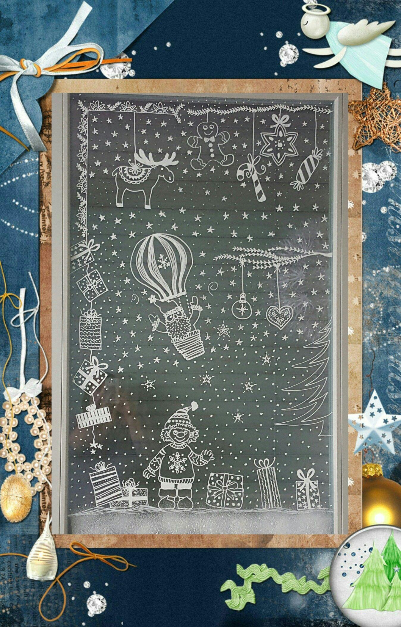 Winterdekoration Am Fenster Mit Chalk Pen Vorlage Aus Bine Brändle