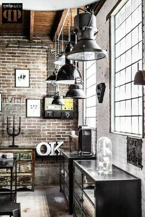 Brick Walls / Industrial Chic / Home Decor / Home Design / Minimalist Chic  / Nyc Apartment / Black And White And Nothing In Between / Large Windows /  Framed ...