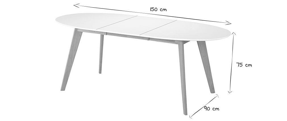 Mesa extensible oval blanca y madera clara LEENA | DECORACION ...