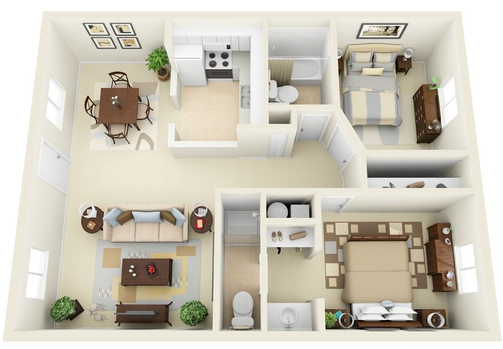 50 3D FLOOR PLANS, LAY-OUT DESIGNS FOR 2 BEDROOM HOUSE OR APARTMENT ...