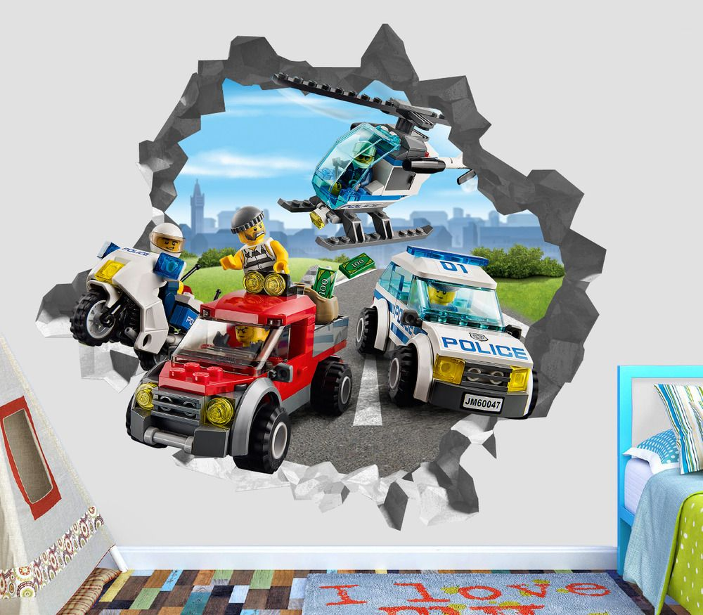 Lego City Police Villain Smashed Wall Decal 3D Sticker Decor Vinyl ...