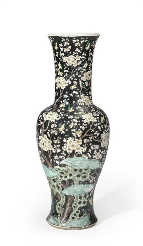 A Large Famille Noire Enameled Porcelain Vase Chenghua Mark 19th