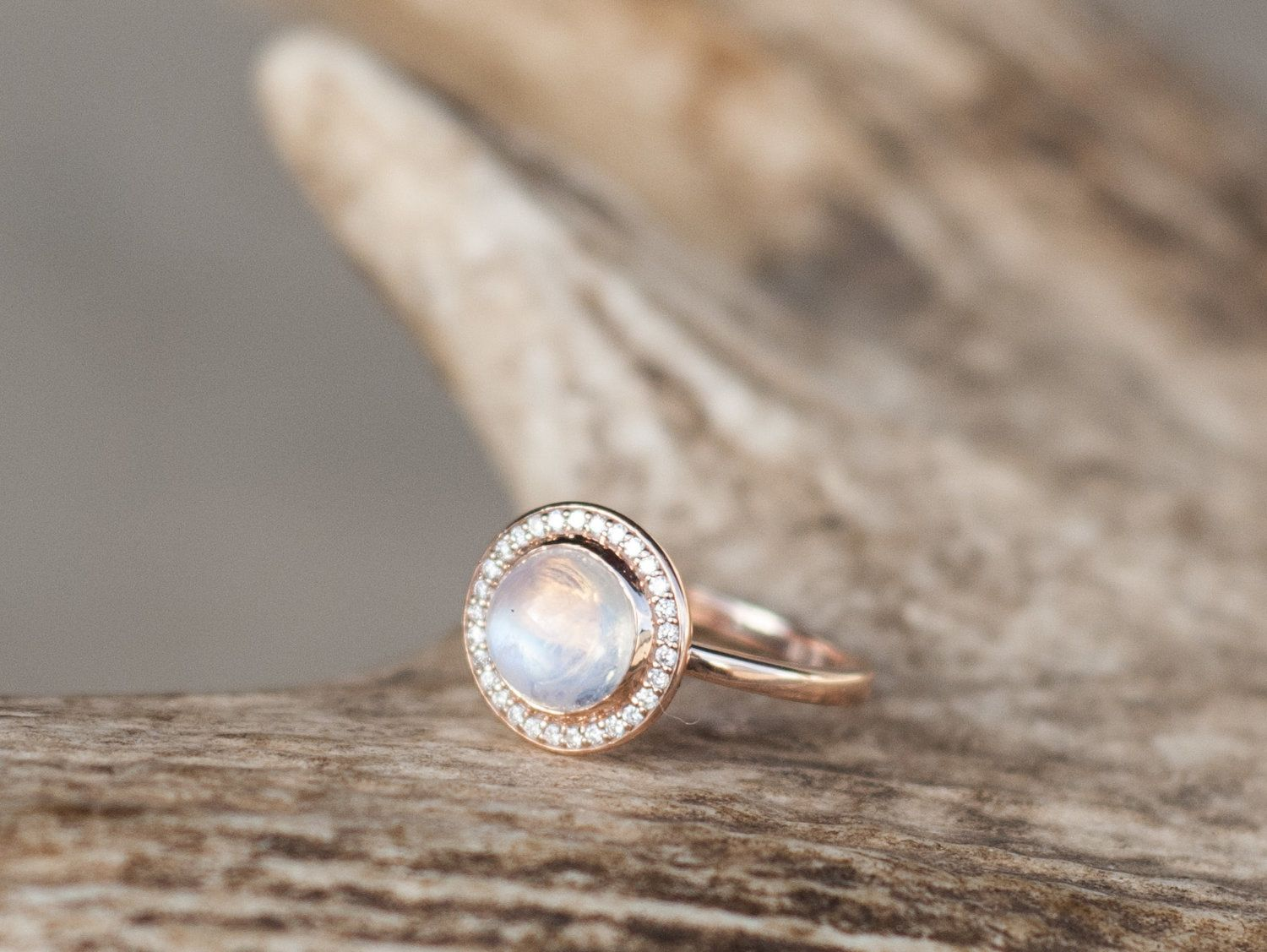 moonstone wedding ring sets 14K GOLD MOONSTONE DIAMOND HALO ENGAGEMENT RING available in 14k rose white or yellow gold