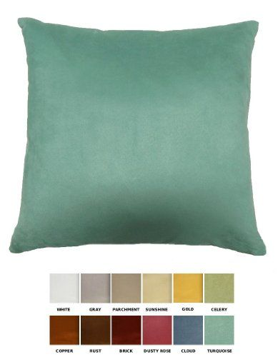 Dreamhome solid faux suede decorative pillow cover sham for Www dreamhome com