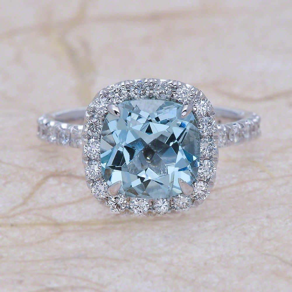 Aquamarine White Gold Diamond Halo Engagement Ring 14k Center is a 8x8 Cushion Natural Aquamarine #aquamarineengagementring