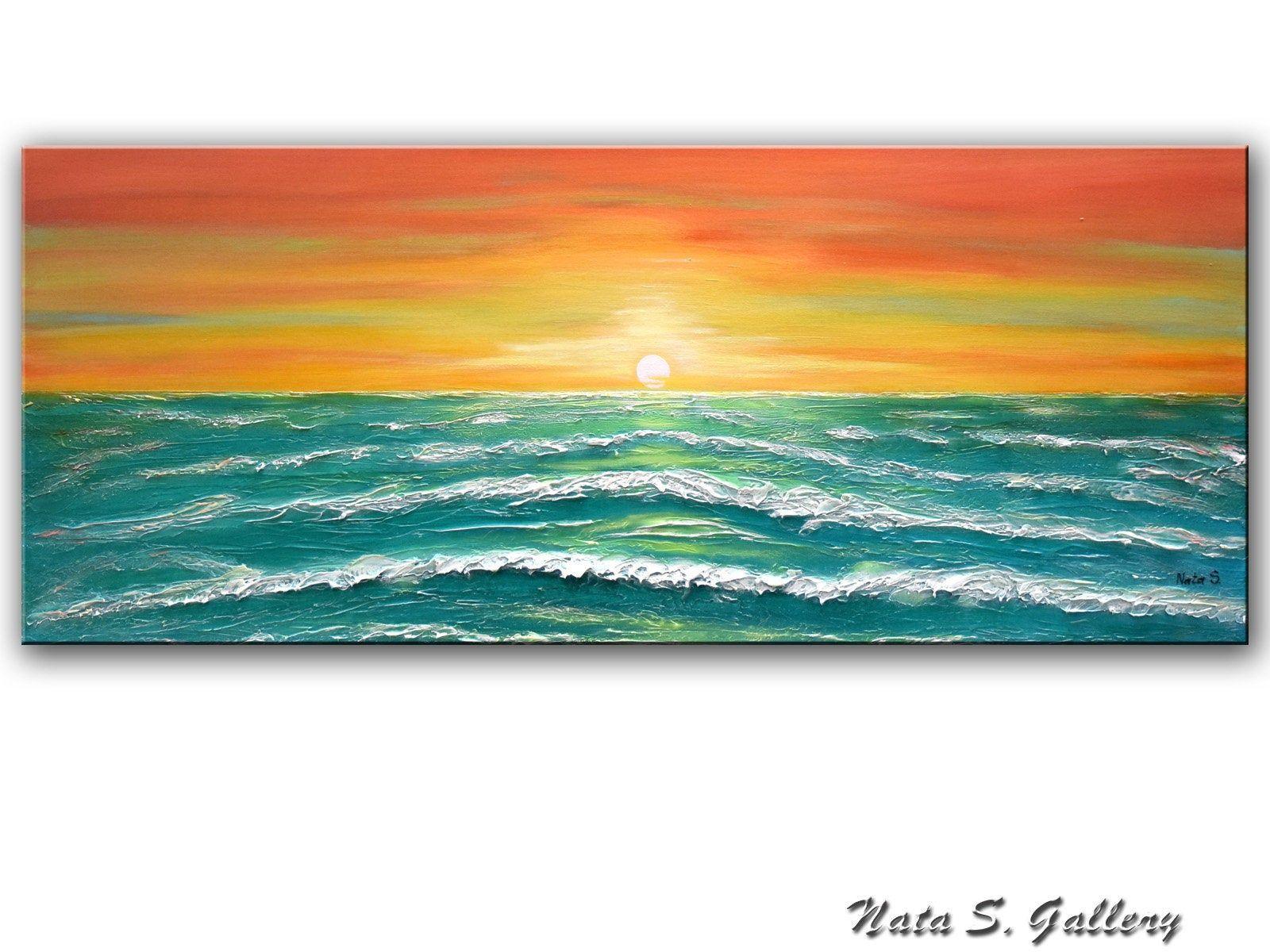 Original Ocean Painting Ocean Wave Art Large Landscape Art Etsy Ocean Waves Art Ocean Painting Wave Painting