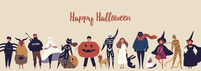 Happy halloween flat banner vector template. Children in spooky outfits cartoon characters. Autumn holiday congratulation. Kids in spider, ghost, mummy and witch costumes illustration with typography. , #AD, #spooky, #Children, #outfits, #characters, #cartoon #Ad #spookyoutfits Happy halloween flat banner vector template. Children in spooky outfits cartoon characters. Autumn holiday congratulation. Kids in spider, ghost, mummy and witch costumes illustration with typography. , #AD, #spooky, #Chi #spookyoutfits