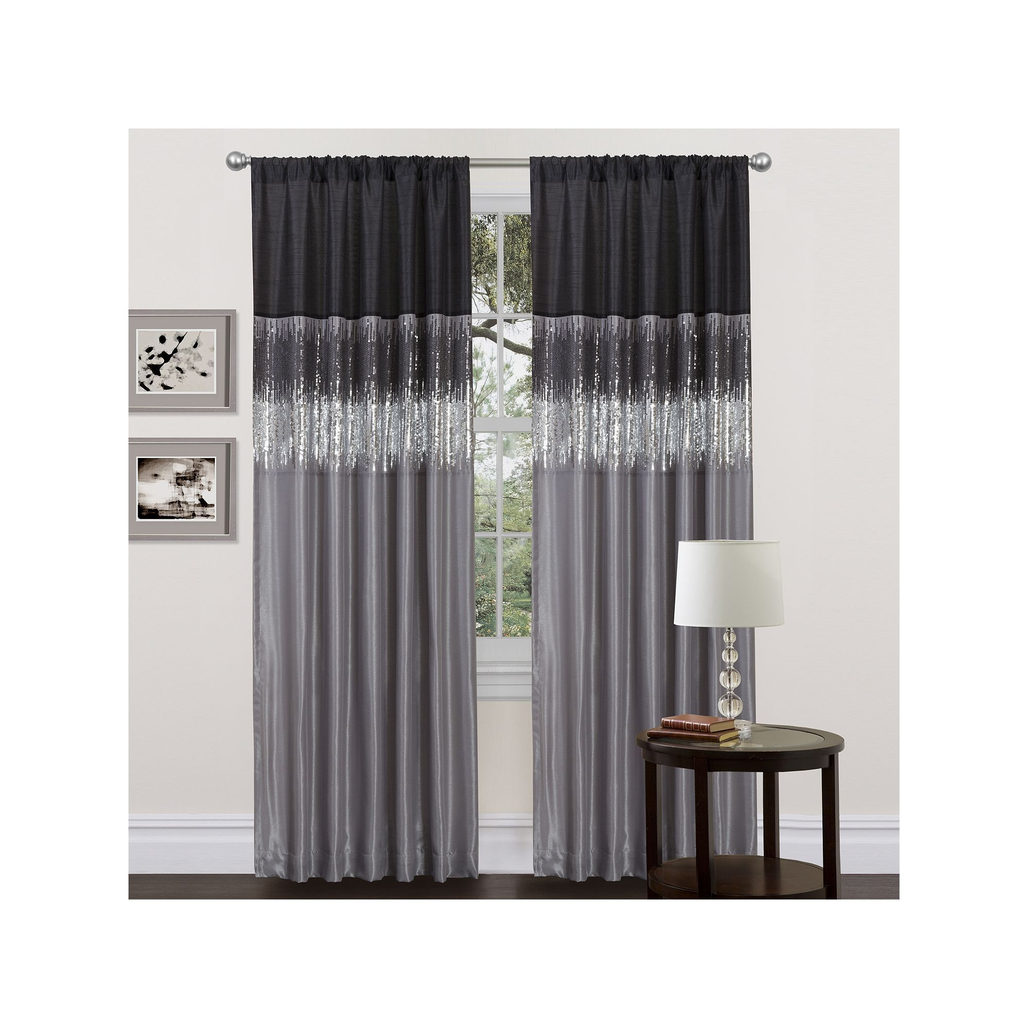 Lush Decor 1 Pack Night Sky Window Curtain In 2020 Black Curtains Panel Curtains Drapes Curtains
