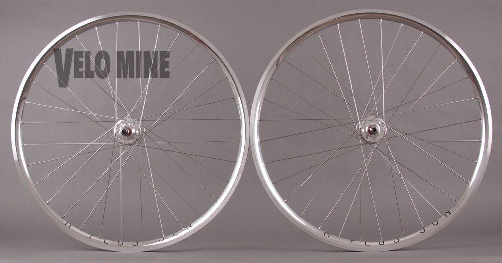 Velocity Deep V Polished Silver Rims Track Bike Fixed Gear Single Speed Wheelset