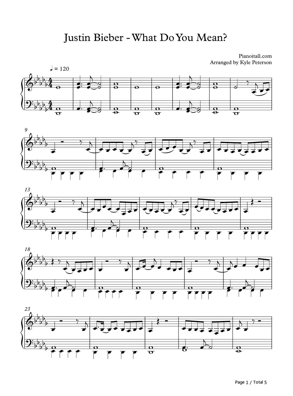 what do you mean piano sheet music