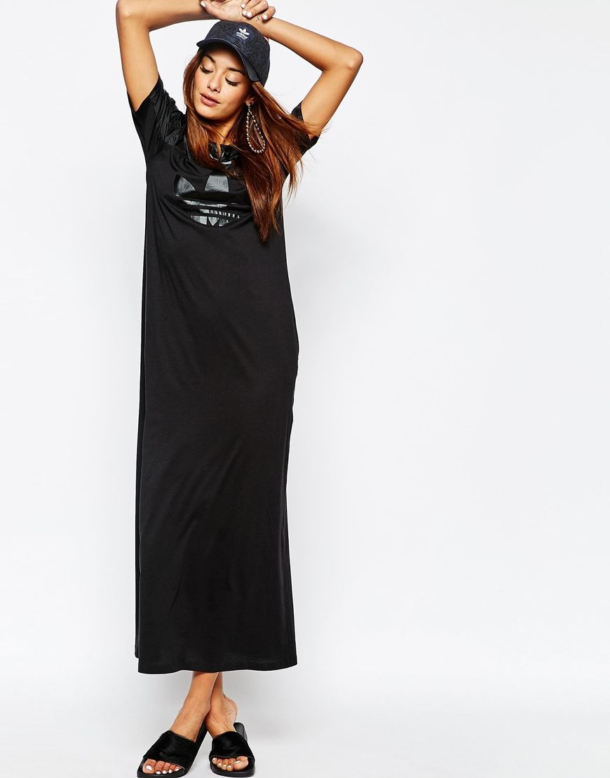 Black dress with adidas shoes - Adidas Originals Adicolour Tonal Trefoil Logo Maxi Dress