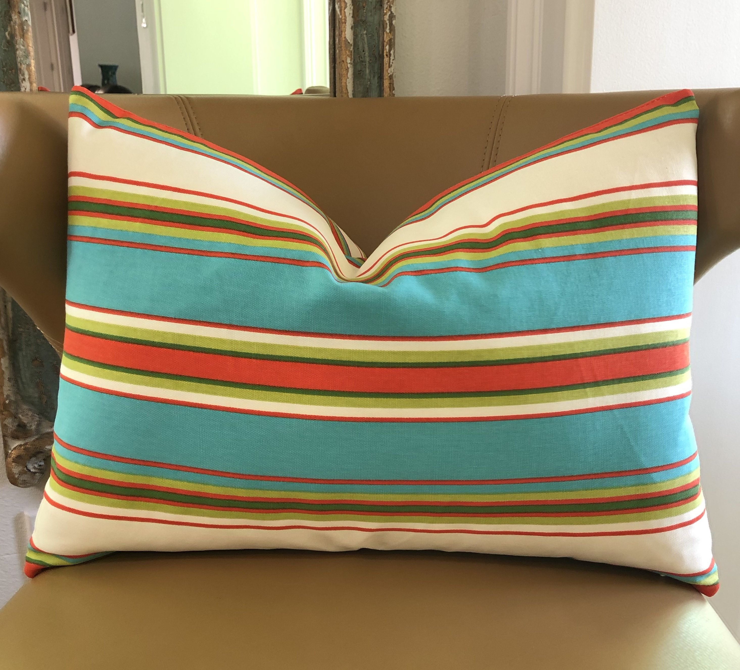 Farmhouse striped decorative throw pillow cushion cover