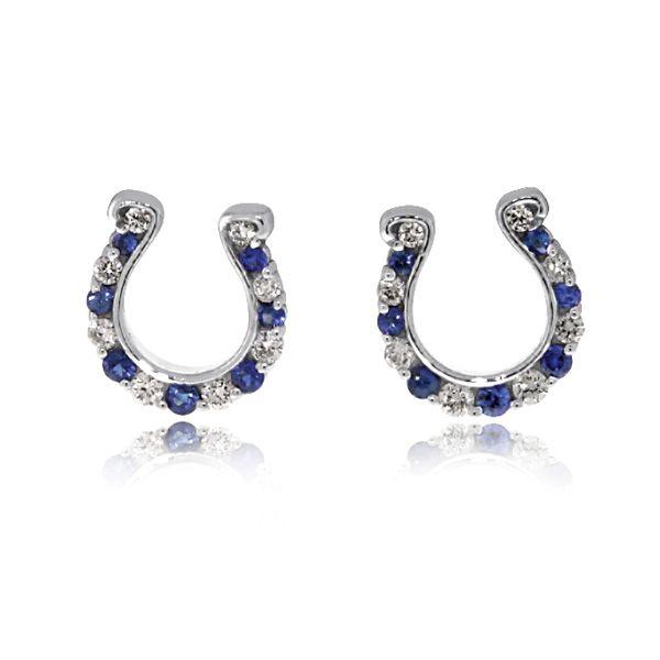 Go Blue Shire And Diamond Horseshoe Earrings 14k White Gold Stud Designed Created By Reis Nichols Jewelers