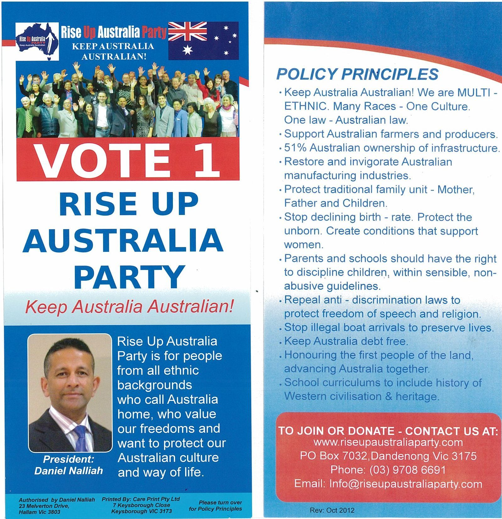 Rise Up Australia Policies  Keep Australia Australian  MIM