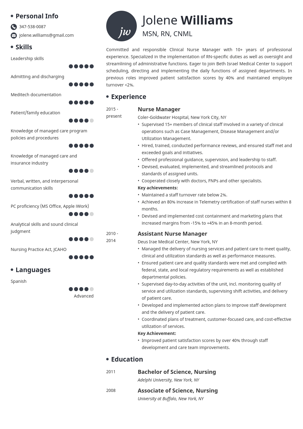 Nurse Manager Resume Example Template Initials Resume Examples Manager Resume Nurse Manager