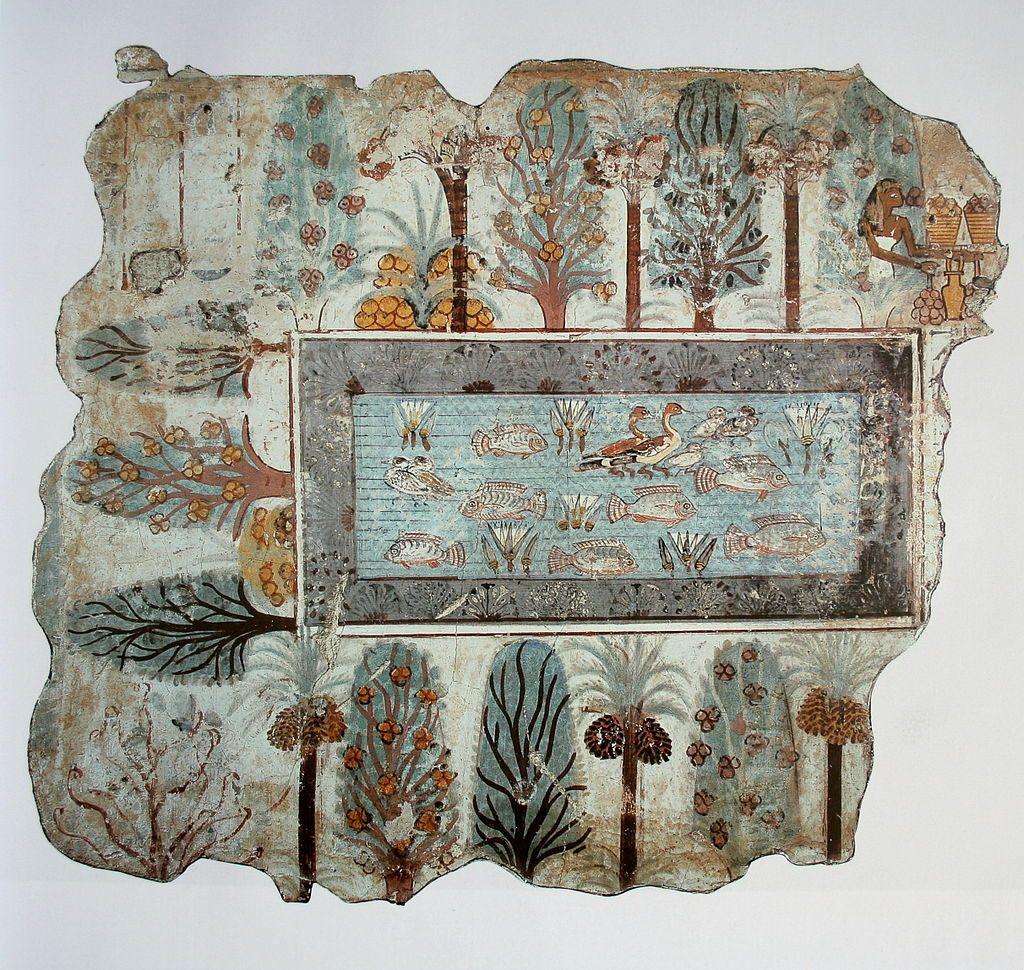Le jardin de n bamon egypte v 1350 peinture murale 64 for Jardin 64