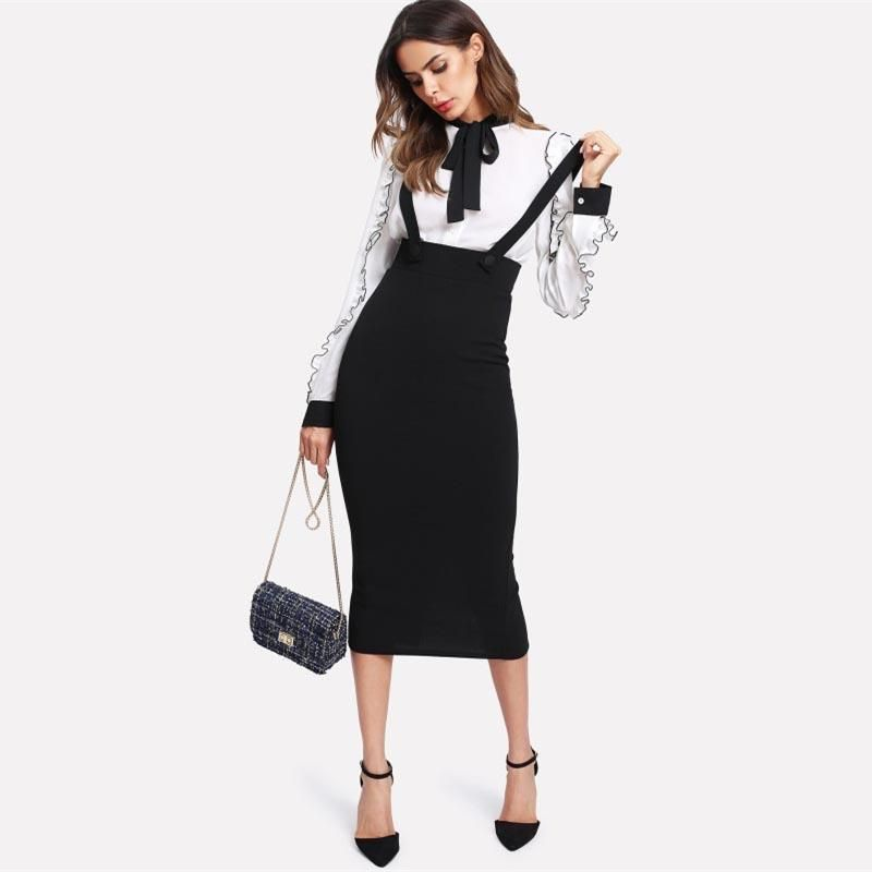 311258174a Women's Slit Pencil Skirt With Strap | Clothes I like | Suspender ...