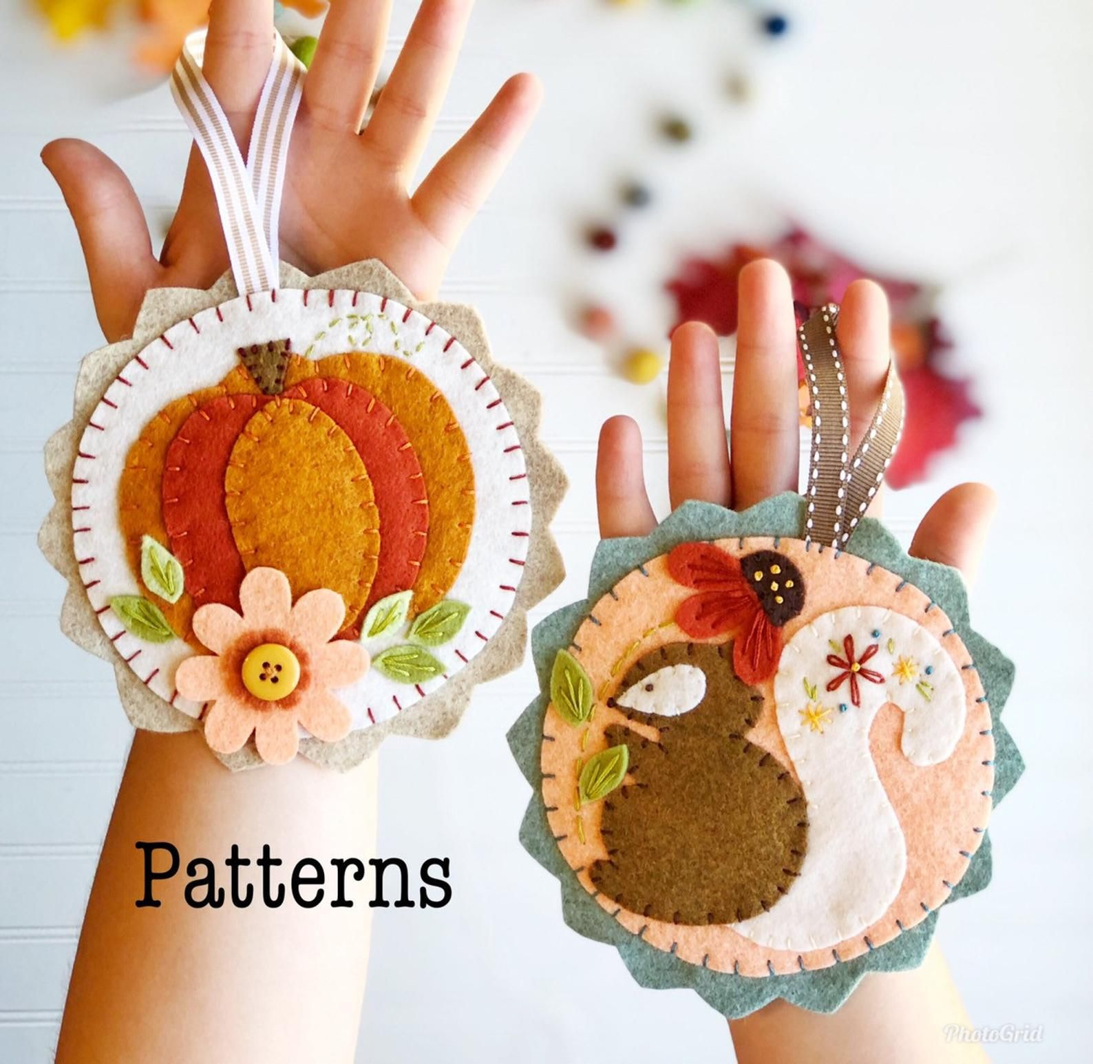 Pattern For Fall Ornaments Felt Pumpkin And Squirrel Fall Etsy Felt Ornaments Patterns Felt Ornaments Fall Ornaments
