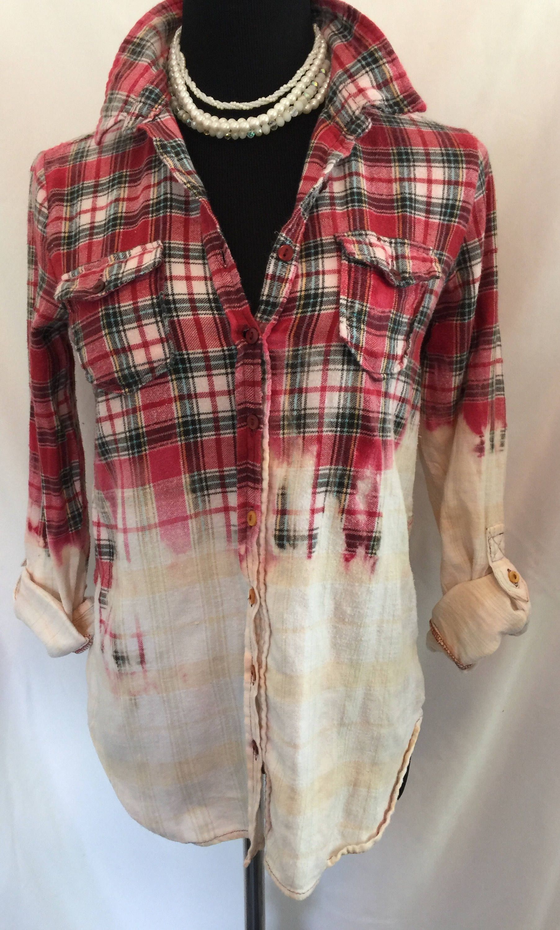 Distressed Upcycled Bleached Flannel Shirt Womens Sized Medium