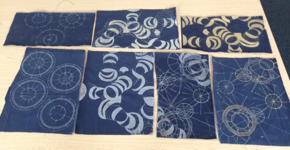 prints on navy thick cotton fabric