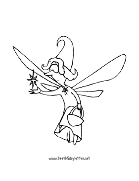 The whimsical tooth fairy on this printable coloring page carries a ...