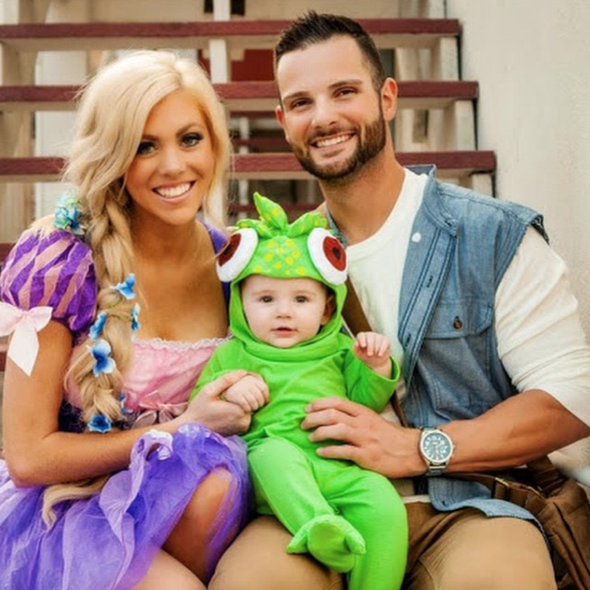 Cafemom Com Tangled 20 Magical Disney Themed Family Halloween Costumes In 2020 Family Themed Halloween Costumes Disney Family Costumes First Halloween Costumes