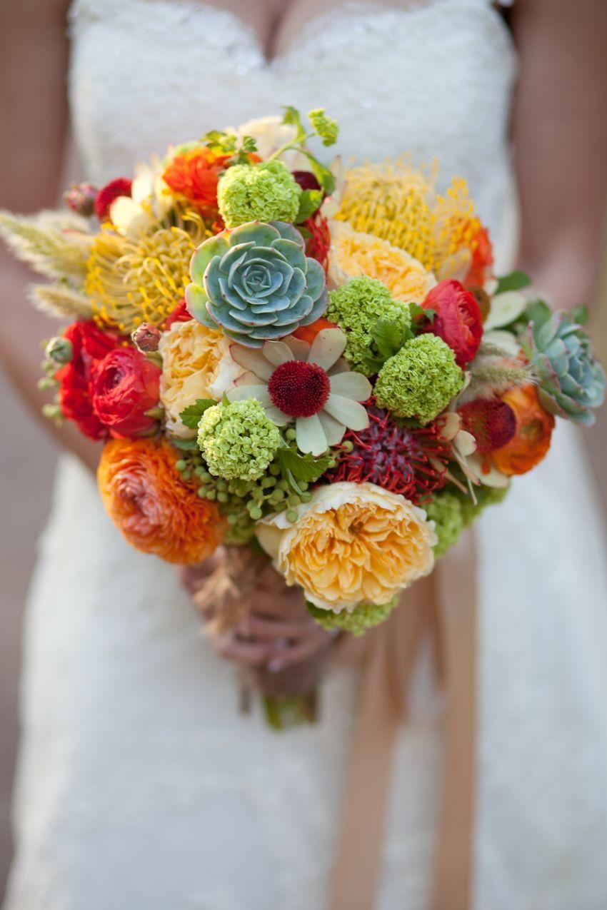 Succulent filled wedding bouquet » Laura Hernandez Photography