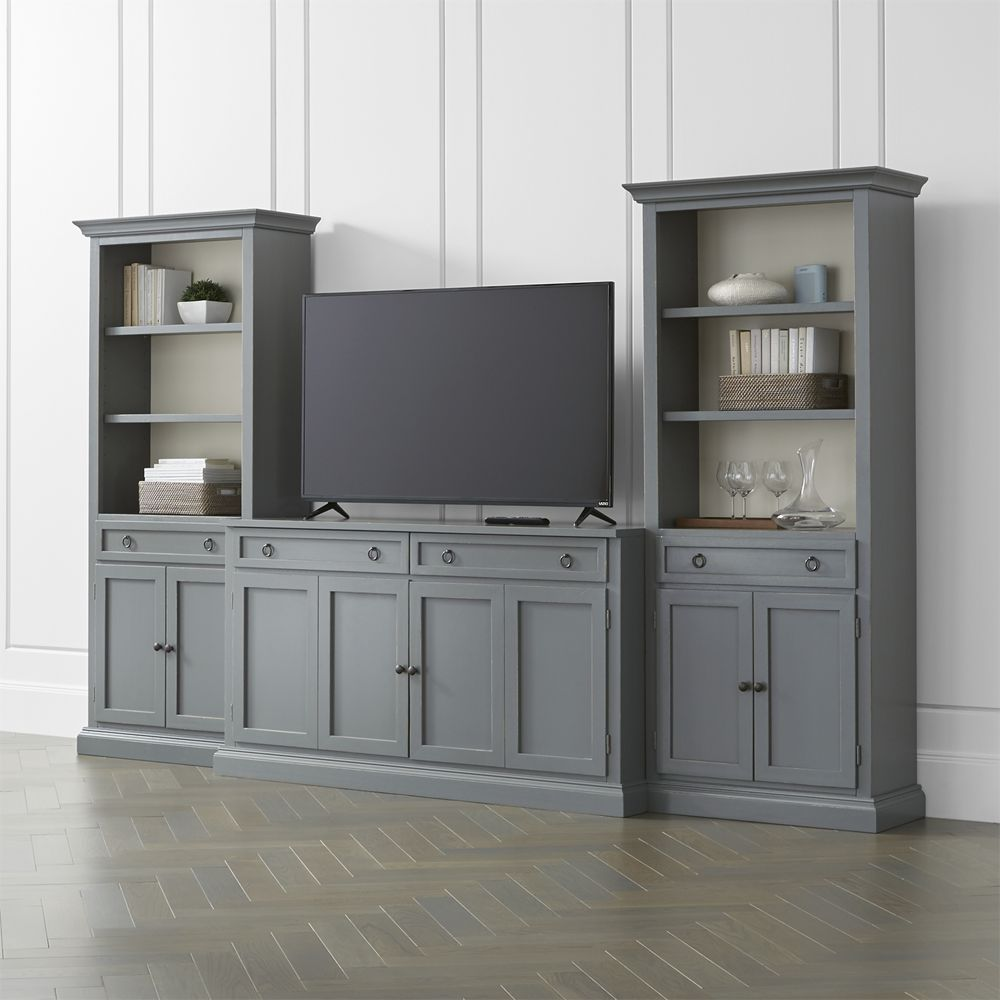 Cameo 3 piece modular grey media entertainment center crate and barrel